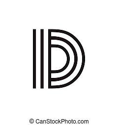 zebrato, logotipo, lettera, vettore, capitale, d