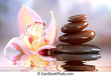 zen, armonia, stones., terme, concetto