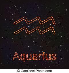 zodiaco, astrologia, simbolo., aquarius., lucente