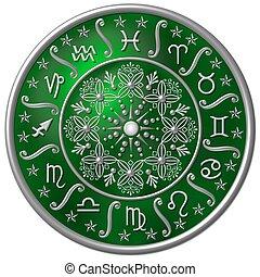 zodiaco, disco, verde