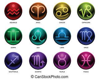 zodiaco, lucido, segni