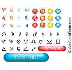 zodiaco, set, pianeti, segni