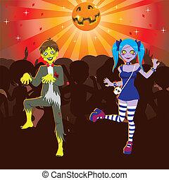 zombie, festa, halloween, discoteca