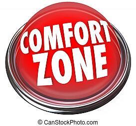 zona, bottone, conforto, sicurezza, parole, sicurezza