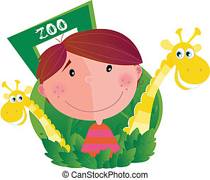 zoo, ragazzo, piccolo, due, giraffe