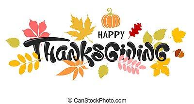 zucca, celebrazione, tipografia, ringraziamento, felice, ghianda, iscrizione, autunno parte