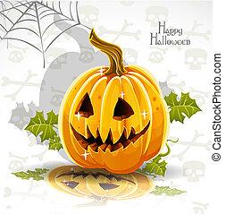 zucca, cricco, felice, -, fuori, taglio, bandiera, halloween