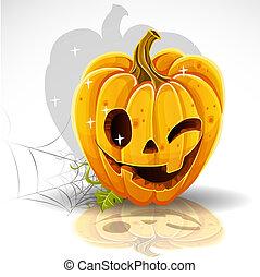 zucca, cricco, fuori, taglio, ammiccamento, halloween