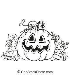 zucca, foglie, sogghignare, divertente, fuori, taglio, lanterna, delineato, pagina, coloritura