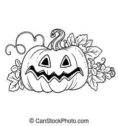 zucca, foglie, sogghignare, divertente, fuori, taglio, lanterna, grande, delineato, pagina, coloritura