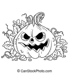 zucca, foglie, sogghignare, fuori, taglio, lanterna, delineato, pagina, coloritura