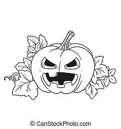 zucca, foglie, sogghignare, fuori, taglio, terribile, lanterna, delineato, pagina, coloritura