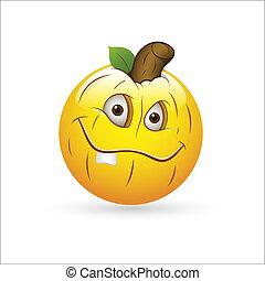 zucca, smiley, espressione, icona