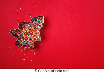 zucchero, pieno, natale, spruzzatine, forma, tagliatore, colorito, albero, biscotto